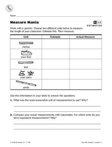 Measure Mania Worksheet