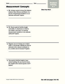 Measurement Concepts Worksheet