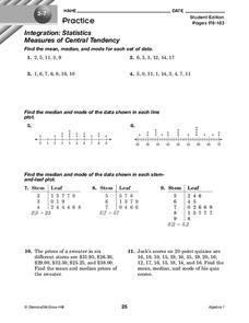 Measures of Central Tendency Worksheet