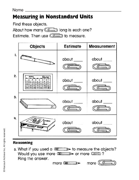 measuring in nonstandard units worksheet for 1st 2nd grade lesson planet. Black Bedroom Furniture Sets. Home Design Ideas