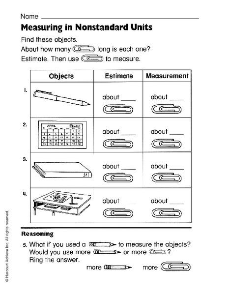 Measuring In Nonstandard Units Worksheet For 1st 3rd