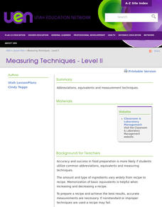 Measuring Techniques - Level II Lesson Plan