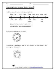 Measuring Time in Minutes Worksheet