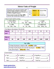 Measuring Weight in the Metric System Worksheet