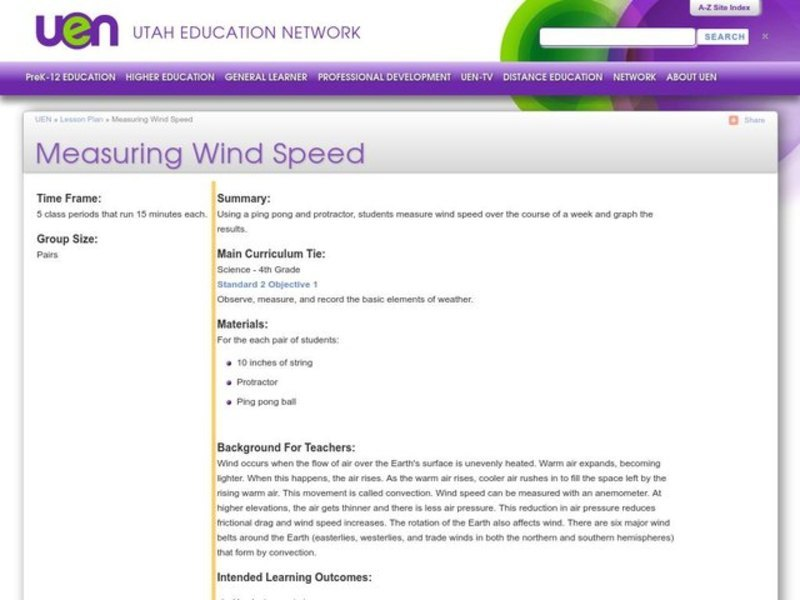 Measuring Wind Speed Lesson Plan
