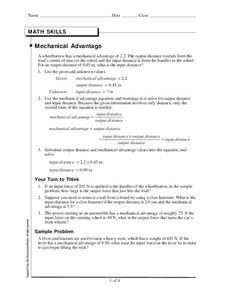 Mechanical Advantage Worksheet