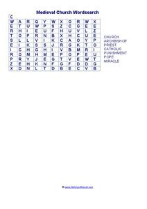 Medieval Word Search Worksheet