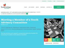 Meeting a Member of a Youth Advisory Committee Lesson Plan