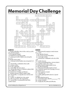 Memorial Day Challenge Worksheet