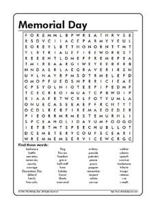 memorial day word search worksheet for 3rd 4th grade lesson planet