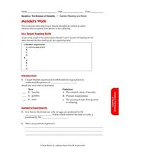 Mendel's Work Worksheet