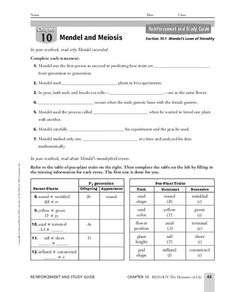 Mendel's Laws of Heredity Worksheet