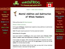 Mental Addition and Subtraction Lesson Plan
