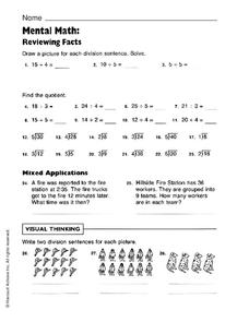 Mental Math: Reviewing Facts Worksheet