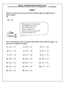 Mentally Add Larger Numbers Worksheet