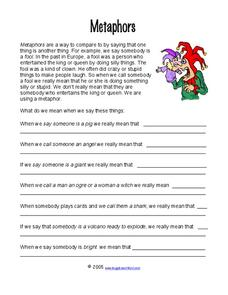 Metaphors Worksheet