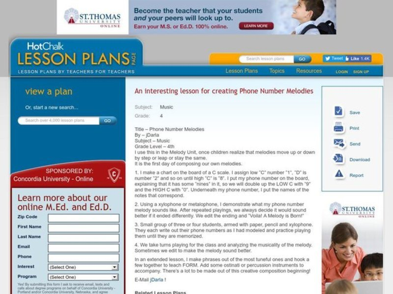 Phone number melodies Music Lesson Plan Lesson Plan