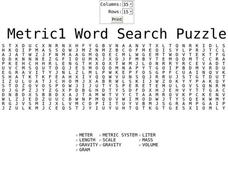 Metric 1 Word Search Worksheet