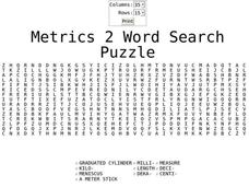 Metric 2 Word Search Worksheet