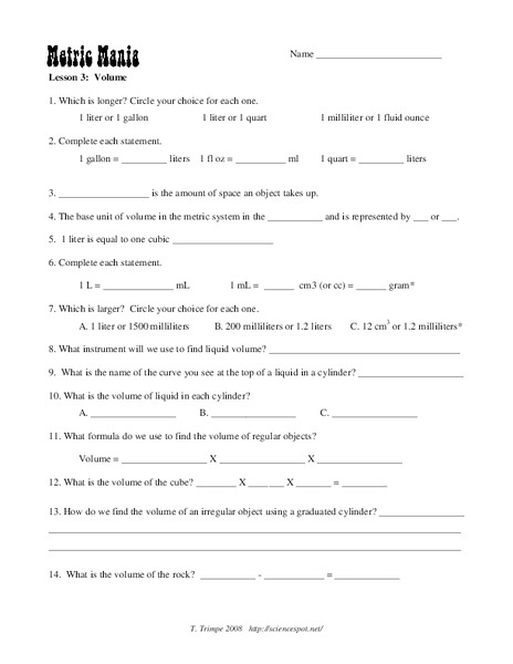 Metric Mania Worksheet for 7th - 9th Grade | Lesson Planet