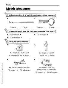 Metric Measures Worksheet
