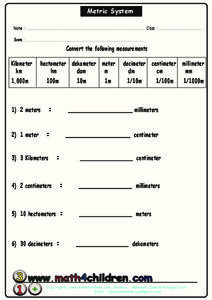 Metric System Worksheet