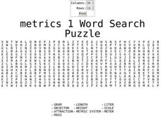 Metrics 1 Word Search Puzzle Worksheet
