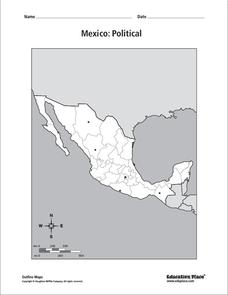 Mexico: Political Map Worksheet