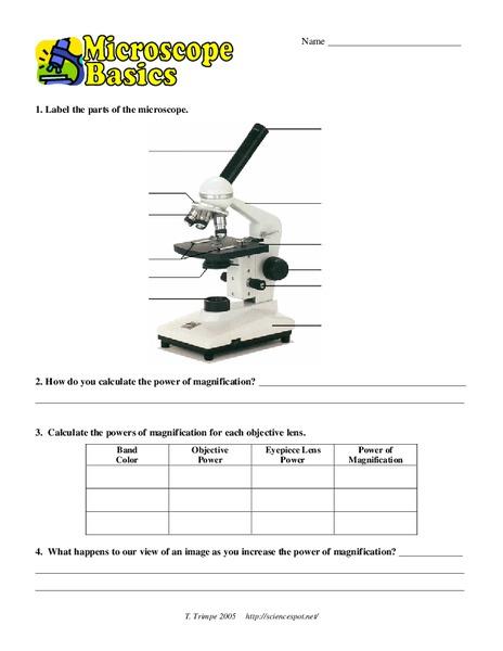 Microscope Basics Worksheet For 9th 12th Grade Lesson Planet