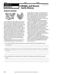 Middle and Recent Earth History Worksheet