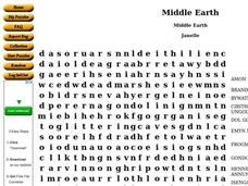 Middle Earth Worksheet
