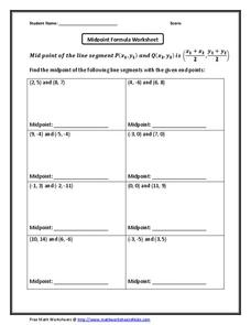 midpoint formula worksheet worksheet for 10th grade. Black Bedroom Furniture Sets. Home Design Ideas