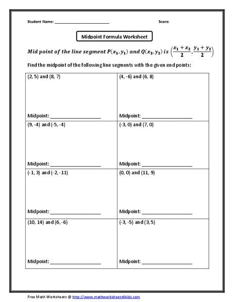 Midpoint Formula Worksheet Worksheet for 10th Grade | Lesson ...
