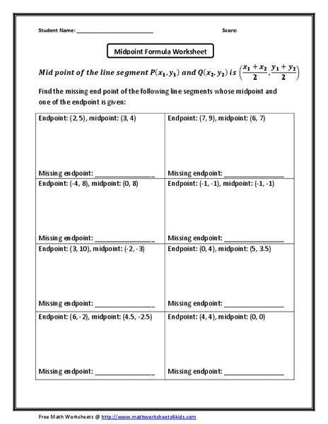 Midpoint Formula Worksheet Worksheet for 10th Grade ...