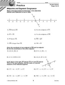Midpoints and Segment Congruence Worksheet