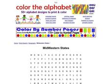 Midwestern States Word Search Worksheet