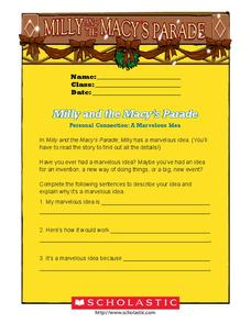 Milly and the Macy's Parade Worksheet