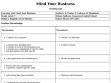 Mind Your Business Lesson Plan