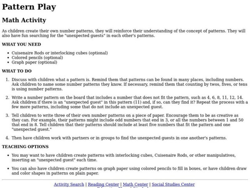 Pattern Play Lesson Plan
