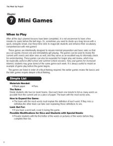 Mini Games Activities & Project
