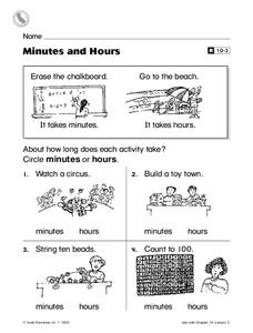 Minutes and Hours Worksheet