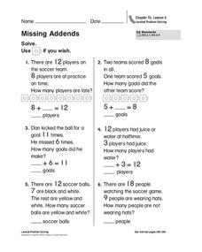 Missing Addends Worksheet