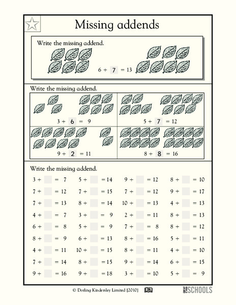 Missing Addends Worksheet For 1st 2nd Grade Lesson Planet