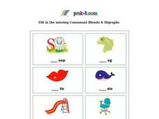 Missing Consonant Blends and Digraphs Worksheet