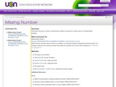 Missing Number Lesson Plan