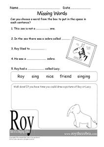 Missing Words Worksheet