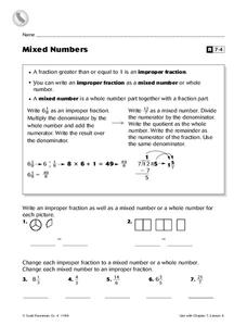 Mixed Numbers Worksheet