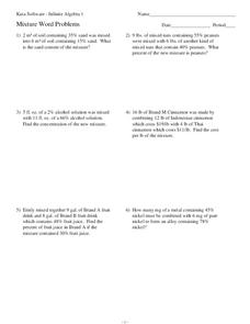 Worksheets Mixture Problems Worksheet mixture word problems 7th 9th grade worksheet lesson planet worksheet