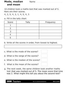 Mode, Median, and Mean Worksheet