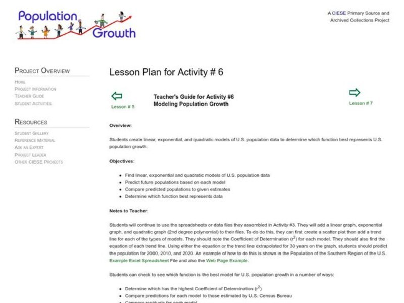 Modeling Population Growth Lesson Plan